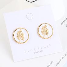 欧美镀真金创意时尚冷淡风百搭头像印章S925银针(白色)