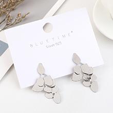 韩版简约小清新时尚镀真金创意气质S925银针(白金)