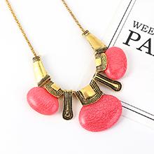 韩版民族风复古树脂项链(粉色)