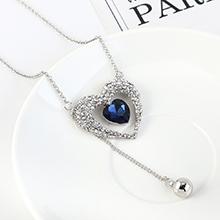 韩版个性简约气质小心心毛衣链(白金+深蓝)