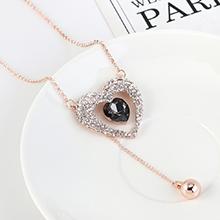 韩版个性简约气质小心心毛衣链(玫瑰金+黑色)