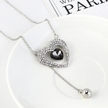 韩版个性简约气质小心心毛衣链(白金+黑色)