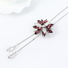 韩版个性时尚玻璃花朵毛衣链(紫红)