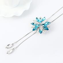 韩版个性时尚玻璃花朵毛衣链(海蓝)