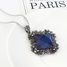 欧美复古时尚大气个性方形玻璃毛衣链(深蓝)