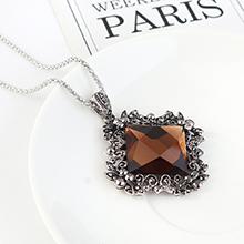 欧美复古时尚大气个性方形玻璃毛衣链(咖啡)