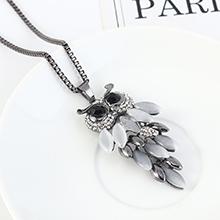 韩版时尚简约猫头鹰树脂个性复古毛衣链(枪黑)