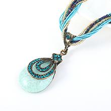 韩版民族风复古时尚个性树脂项链(海蓝)
