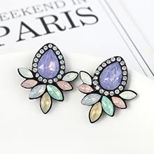 韩版复古时尚创意简约小清新花朵耳环(紫+粉+白)