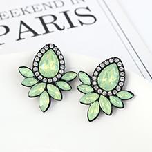 韩版复古时尚创意简约小清新花朵耳环(绿色)