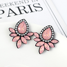 韩版复古时尚创意简约小清新花朵耳环(粉色)