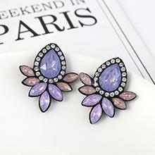 韩版复古时尚创意简约小清新花朵耳环(紫色)