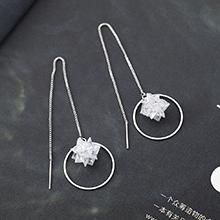 AAA级锆石耳环--雪莹花
