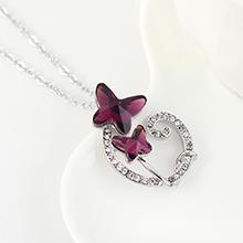 奥地利水晶项链--双飞蝶恋(紫色)