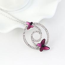 奥地利水晶项链--蝶翼双飞(紫色)