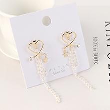 韩版镀真金气质时尚个性创意流苏小心心水晶玻璃S925银针