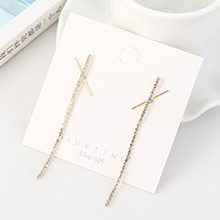 韩版镀真金大气时尚个性流苏气质水晶S925银针