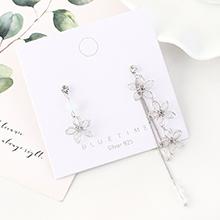 韩版镀真金简约时尚百搭创意不对称花朵S925银针