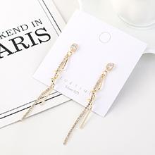 欧美镀真金创意长款流苏百搭时尚水晶S925银针