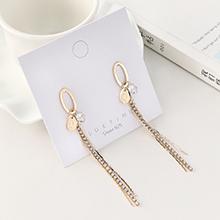 欧美镀真金气质时尚个性流苏长款小珍珠S925银针