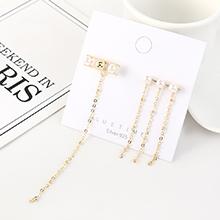 欧美镀真金创意夸张流苏长款珍珠S925银针