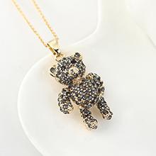 进口水晶项链--卡迪小小熊(黑钻石)