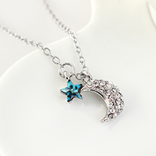 奥地利水晶项链--众星拱月(蓝光)