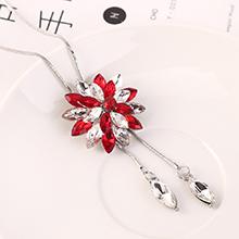 韩版时尚简约百搭创意彼岸花毛衣链(红色)