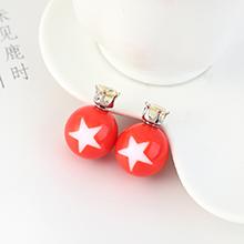 欧美时尚个性小五星圆球耳钉(蓝色)橘红