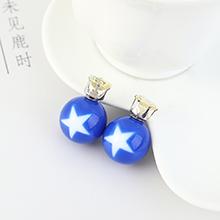 欧美时尚个性小五星圆球耳钉(蓝色)