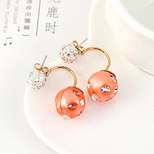 韩版时尚气质百搭个性小彩球耳钉(橘黄)