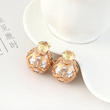 欧美时尚复古简约小青圆酒瓶珍珠耳钉(白色+黄锆石)
