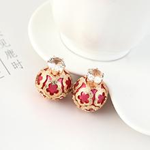 欧美时尚复古简约小青圆酒瓶珍珠耳钉(紫红)