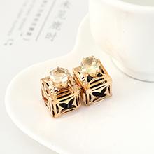 韩版简约时尚个性创意方酒瓶耳钉(黑色)