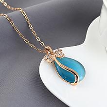 猫眼石项链--花蝶泪(香槟金+海蓝)