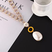 韩版复古时尚百搭创意珍珠项链(黄色)