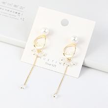 欧美镀真金复古时尚气质LOVE字母流苏珍珠S925银针(14K金)