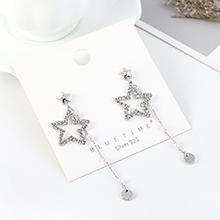 欧美镀真金时尚气质大牌小星星珍珠流苏S925银针(白金)