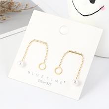 韩版镀真金创意时尚简约小清新小圈圈珍珠S925银针(14K金)