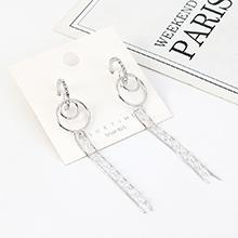 韩版镀真金气质大牌长款流苏水晶玻璃小圈镂空S925银针(白金)
