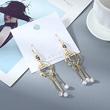 韩版时尚个性气质镀真金流苏锆石镂空耳环