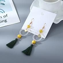 韩版时尚个性棉线树脂小圈镂空耳环(黄色)