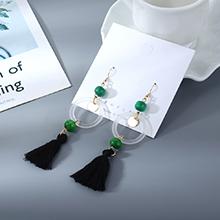 韩版时尚个性棉线树脂小圈镂空耳环(绿色)