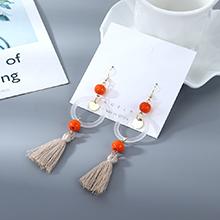 韩版时尚个性棉线树脂小圈镂空耳环(橘黄)