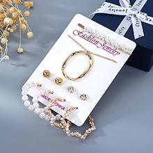 韩版创意百搭气质复古个性时尚珍珠项链耳环发夹套装