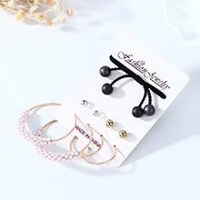 韩版复古简约小清新新潮百搭个性珍珠耳环发带套装