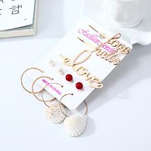 欧美夸张创意时尚个性新潮贝壳珍珠耳环发夹套装