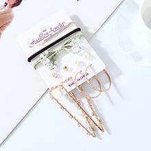 欧美法式甜美百搭复古时尚气质大牌珍珠水钻耳环发夹套装