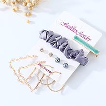 韩版创意时尚百搭个性气质复古珍珠耳环发夹套装