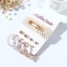 欧美复古简约小清新时尚百搭个性珍珠水钻耳环发夹套装